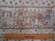 """""""A Wash Day"""" -- Border Fabric-Picket Fence with Charming Girls ,Rabbits"""