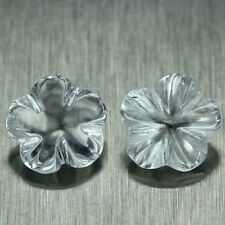 PAIR! 2.05 CT. UNHEATED NATURAL GEMS TOPAZ AAA WHITE FLOWER CARVING 6.1X 6.1 MM.