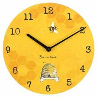 'Bee On Time' 34cm Bright Warm Sunshine Yellow Wall Clock Art Medium Kitchen