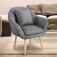 Accent Arm Chair Modern Single Sofa Seat with Pillow, Linen Fabric Upholstered