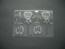 4 ON 1 BRIDE & GROOM IN HEART CHOCOLATE LOLLY MOULD/VALENTINES/WEDDING FAVOURS