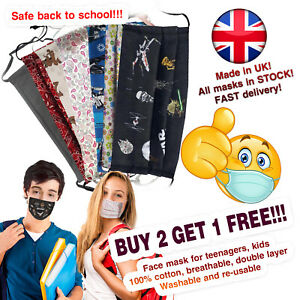 Face Mask for Teenagers, 100% Cotton, Breathable, Handmade UK
