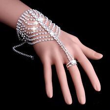Bracelet Slave Chain Link Finger Ring Crystal Wedding Bridal Bracelet Hand Chain