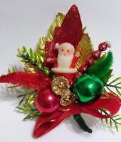 Vintage Christmas Corsage SANTA Sugar Bells Mercury Glass Bead package tie
