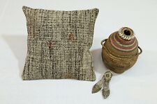 Handmade Cushion Cover 16.5x16.5 In. One-of-a-Kind Vintage Pillow Case Eco Décor