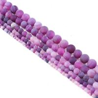 6-10mm Natural Stone Agate Frosted Crab Purple Round Loose Beads Jewelry Making