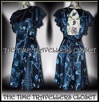 CELIA BIRTWELL Topshop Blue Black White Floral 1940s WW2 Pinup Tea Dress UK 10
