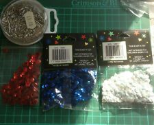 3 packs of sequins and sequin pins,blue,pink,white,ideal for all crafts & sewing