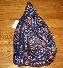 Vera Bradley Lighten Up Sling Backpack Foxwood Meadow black floral    NEW