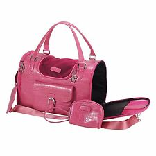 NEW Fashion Faux Crocodile Pet Dog Animal Carrier Tote Bag For Pet Pink - 421