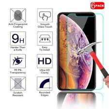 [6-pack] iPhone 7 8 X XS XR XS Max Plus Protector de Pantalla de Vidrio Templado Premium