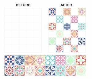 """Mosaic Pattern Stickers Transfers For 150mm x 150mm & 6"""" x 6"""" inch Tiles GT27"""