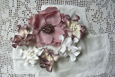 Mix of Flowers MULBERRY & WHITE 40 to 65mm - 6 flower Pack - Green Tara S2S