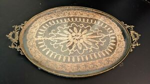 Antique Victorian Glass Needlepoint Lace Brass Perfume Vanity Tray