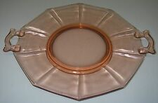 "Imperial Glass MOLLY Pink Handled Cake Plate footed 10 3/8"" Elegant Depression."