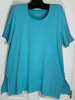 J Jill women Pima cotton dipped hem Tunic short sleeve XL Top New