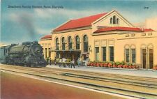Linen Postcard Locomotive at Southern Pacific Station Reno NV Depot Posted
