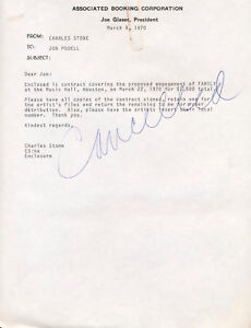 FAMILY concert appearance contract / 1970 Houston Texas 1978 / guaranteed