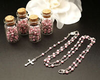 12 PC Pink Glass Bottle Rosary Baptism Favors Boy Recuerdos Bautizo Rosario