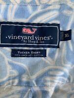 Vineyard Vines Men Whale Shirt Blue Palm Leaf Linen Blend Long Sleeve XL