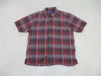 Tommy Bahama Button Up Shirt Adult Large Red Black Plaid Long Sleeve Casual Mens