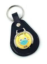 Stay Safe and wear a Mask Leather Keyring
