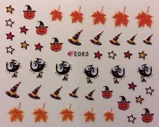 Halloween Nail Art Pegatinas Transferencias Hojas calabazas Gato Bruja Sombrero estrellas (E063)