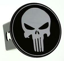"""Metal Embossed Chrome Emblem Trailer Hitch Cover (Fits 2"""" Receivers, Punisher)"""