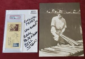 GAYLORD PERRY LEW BURDETTE BILL SINGER PSA/DNA Signed Enca11x14 Babe Ruth Photo