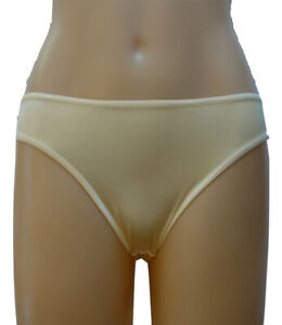 Ivory / Cream Satin High Cut Bikini Brief Panty Underwear | Size 10 12 | #U9008I