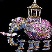 Heidi Daus REPLICA Carriage Circus Decorated Elephant Pin Brooch Jewelry 3.25""