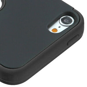 iPod Touch 5th 6th & 7th Gen - Black Impact Armor Hard & Soft Rubber Hybrid Case
