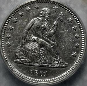 1861 AU50 ICG LIBERTY SEATED QUARTER ID#FF27