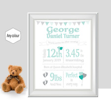 Birth Announcement Print, New Baby Gift, Birth Print, Personalised New Baby Gift