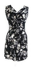 Petite Ladies Black White Floral Printed Knot Front V Neck Tunic Short Dress NWT