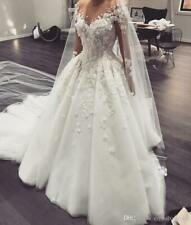 Arabic A Line Wedding Dress Sheer  Neck Long Sleeves Lace Appliques Bridal Gown