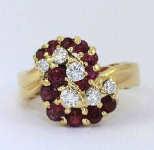 Vintage diamond ruby ring 14K yellow gold cluster G color round brilliant 1.85CT