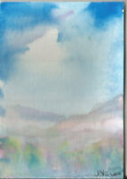 TREE LINED MOUNTAINS. Original Watercolor Landscape Painting ACEO small ART mini