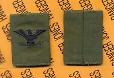 Us Army Colonel Col 0-6 Od Green & Black slip on rank patch