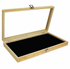 Wooden Display Case W/ Tempered Glass Top Lid For Jewelry Medals Brooches Knives