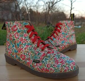 Dr Martens England Boots Women 4 UK 6 US Vintage 6 eye 101 Boots Small Flowers