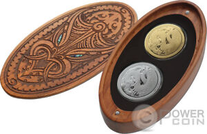 MYTHICAL TANIWHA Maori Tekau Set 2x1 Oz Silver Coin 1$ Gold 10$ New Zealand 2017