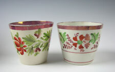 Two Antique Pink Luster Pearlware Glaze Hand Enamel Tumblers Staffordshire 19th