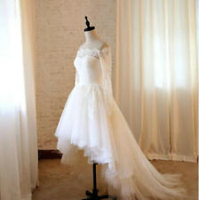 Hi-Low Lace Long Sleeves Beach Wedding Dresses Bridal Gowns Size White Ivory