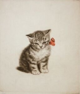 META PLUCKEBAUM-German Realist-Pair of Hand Signed LIM.ED Etchings-Kittens