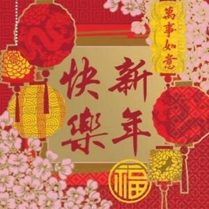 CHINESE NEW YEAR BEVERAGE NAPKINS ORIENTAL ASIAN PARTY TABLE DECORATION BLESSING