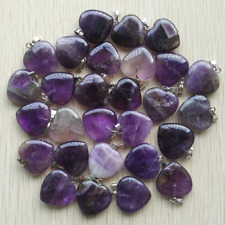Natural Amethyst Stone Love Heart Pendants 50pcs Wholesale for Jewelry Making