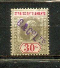 1902 Malaya Malaysia Straits Settlements KEVII 30c CV  Rm 35