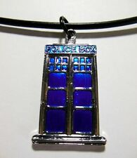 Blue Police Call Box Tardis Pendant Leather Necklace Vintage Doctor Jewelry