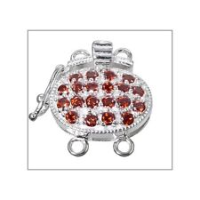 Fine Sterling Silver 2 Strands Oval Box Clasp with Secure Lock CZ Garnet #51594